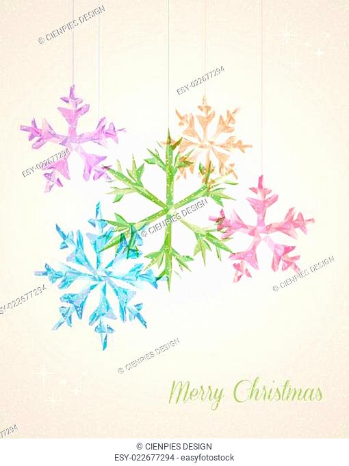 Merry Christmas hanging snowflake greeting card