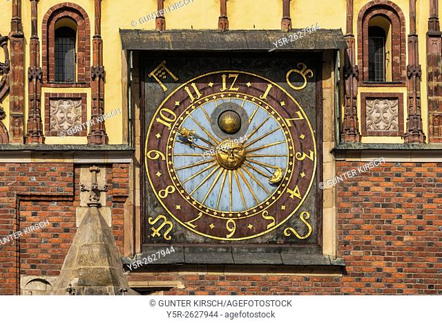 Astronomical clock on the Eastern facade of the Town Hall from the year 1580. The Old Town Hall of Wroclaw stands at the center of the city's Market Square