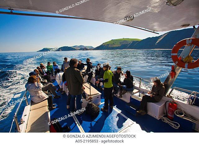 Excursion by boat between Zumaia and Deba to see the Flysch, Guipuzcoa, Basque Country, Spain