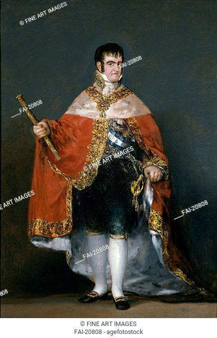 Portrait of King Ferdinand VII of Spain. Goya, Francisco, de (1746-1828). Oil on canvas. Romanticism. 1815. Spain. Museo del Prado, Madrid. 208x142,5