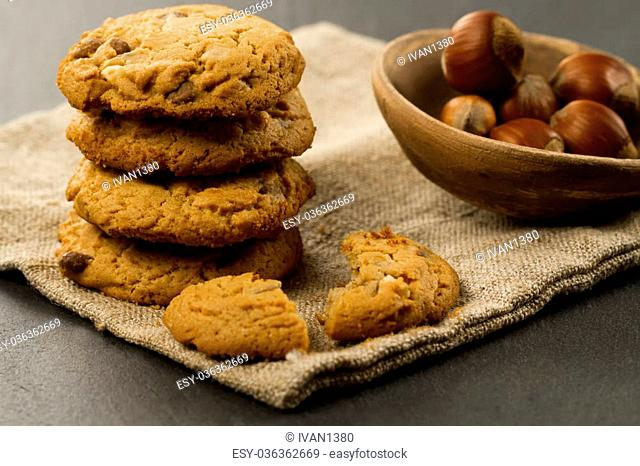 Chocolate chips cookies on black background