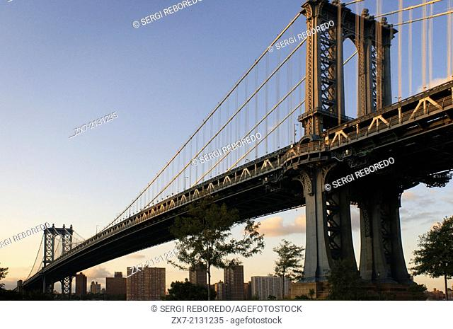Manhattan Bridge, New York City, New York, United States of America, North America. Bridge Manhattan Bridge. The Manhattan Bridge may not have the glamor and...
