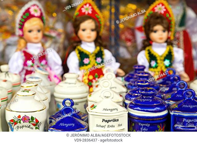 Dolls in folkloric and traditional dresses at a souvenir shop. Budapest Hungary, Southeast Europe