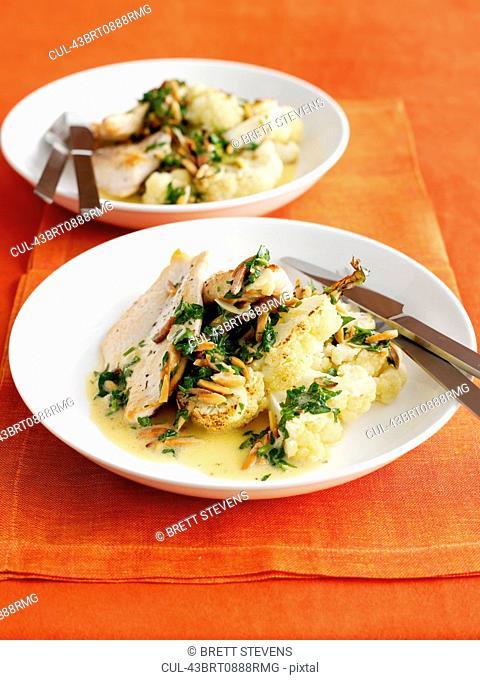 Plate of chicken and cauliflower