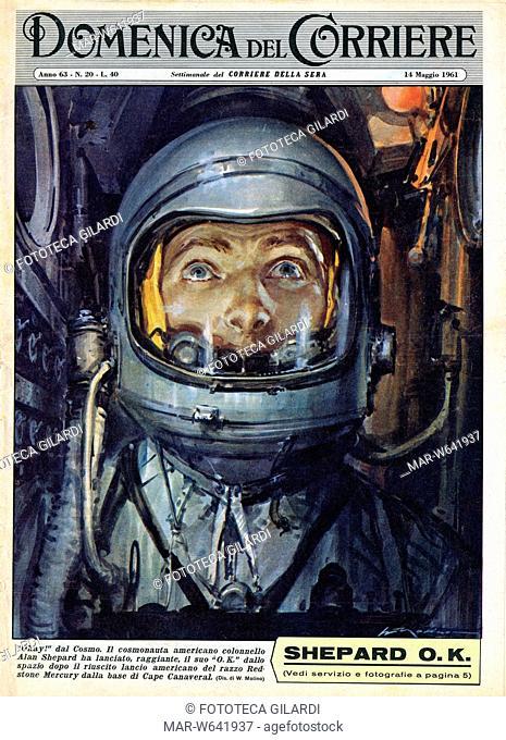 ITALIA 1961 'Okay dal cosmo'. Copertina della Domenica del Corriere illustrata da Walter Molino (1915-1997). La notizia riguarda un episodio di cronaca: il...