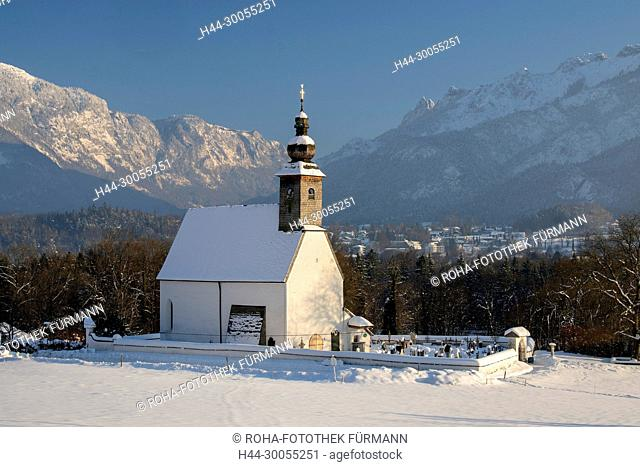 Bayern, Berchtesgadener Land, Bad Reichenhall, Winter, Schnee, Eis, kalt, Kälte, Kaelte, Kirche, Glaube, Religion, Nonn, Nonner Kircherl, Kirchturm
