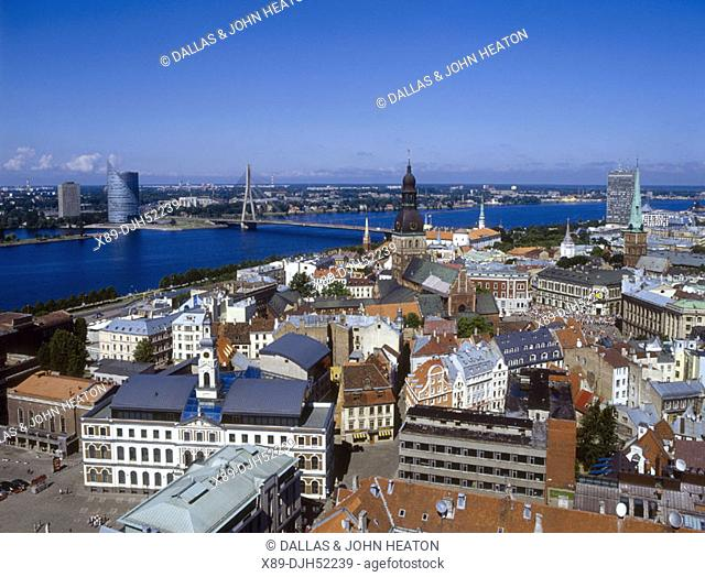 Skyline, Old Town Square, Old Town, Vansu Bridge, Daugava River, Riga, Latvia