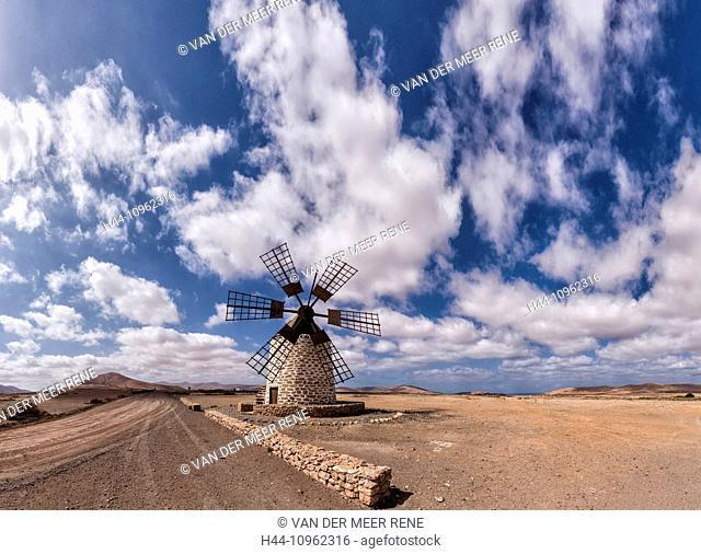 Spain, Europe, Fuerteventura, Canary Islands, Tefia, Molino de Tefia, windmill, summer, hills, clouds, desert