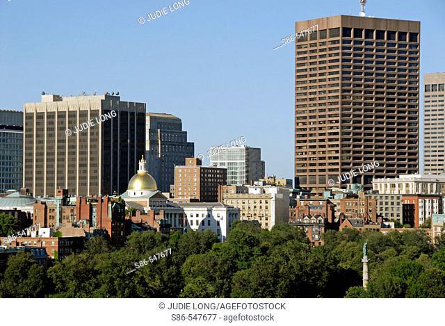 Boston skyline from Boston Public Garden. USA