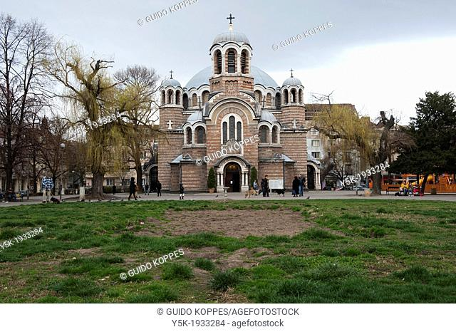 Sofia, Bulgaria. Eastern Orthodox Sveti Sedmochislernitsj Church Temple in Sofia. Build on a small square, commonly used by residents of the neighborhood for...