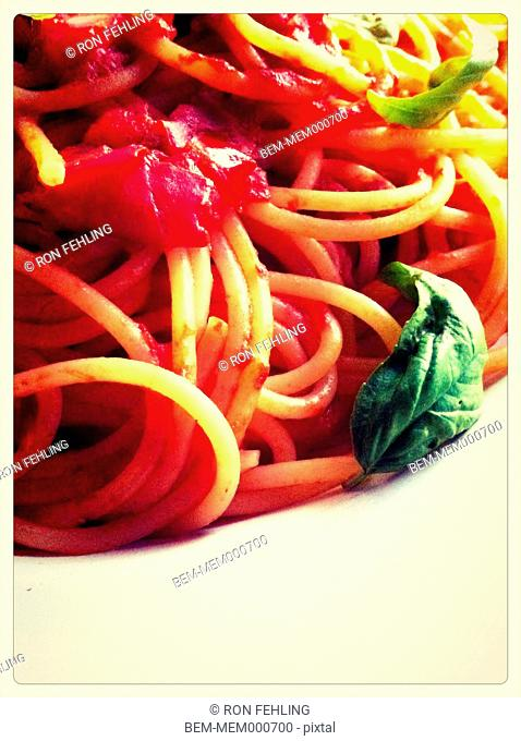 Close up of plate of pasta