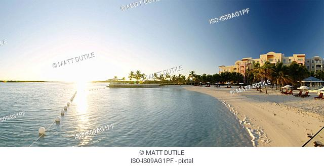 Panoramic view of beach resort, Providenciales, Turks and Caicos Islands, Caribbean