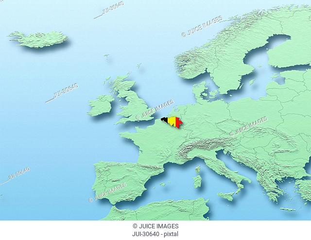 Belgium, flag, map, Western Europe, green, blue, physical, political