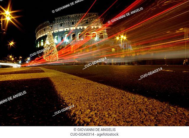 Coliseum with Christmas tree, Rome, Lazio, Italy