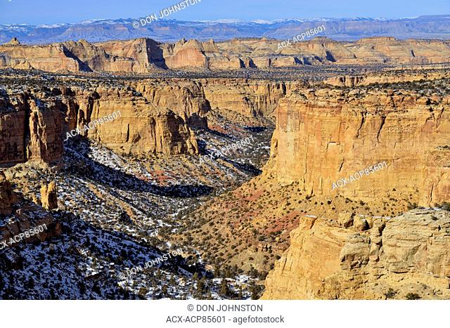 Rock outcrops and canyons from the Eagle Canyon View area, along Interstate 70, Utah, USA