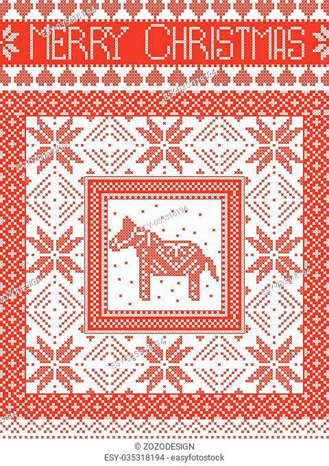 Merry Christmas Scandinavian style, inspired by Norwegian Christmas, festive winter seamless pattern in cross stitch with Swedish Dala horse