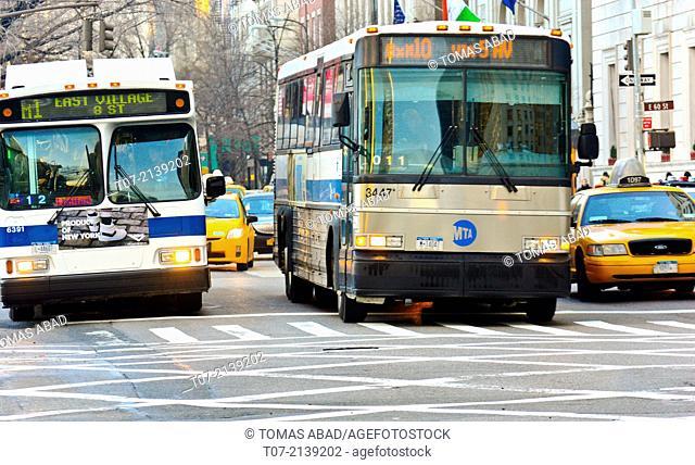 Morning rush hour traffic, Mass Transit, MTA BXM10 express bus and M1 local bus, Public Transportation, Metropolitan Transportation Authority, Midtown Manhattan