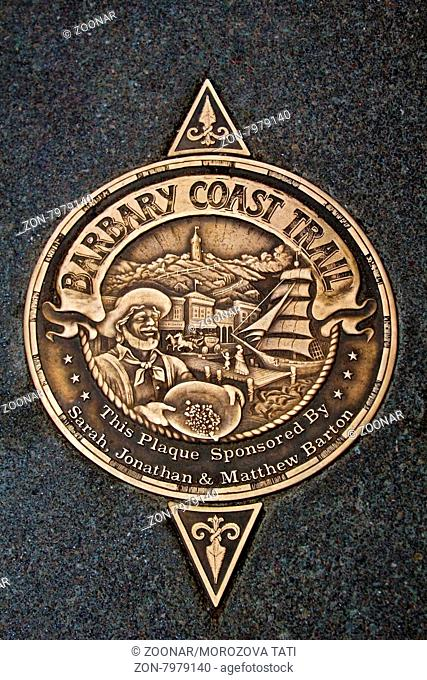 Sign of Barbary Coast Trail in downtown San Francisco, California, USA. Barbary Coast Trail connects the historic site between the 1849 Gold Rush time to the...
