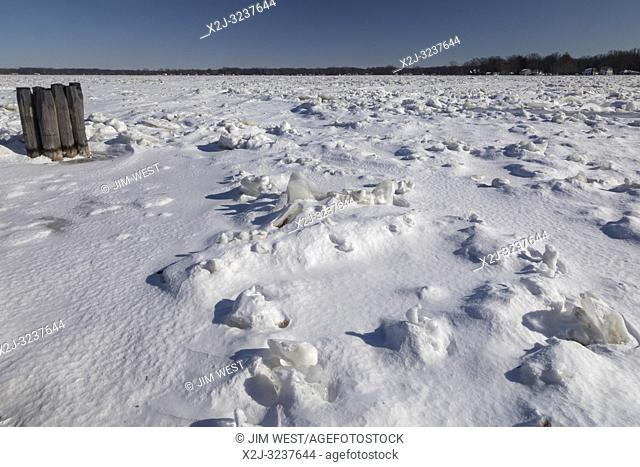Marine City, Michigan - The frozen St. Clair River, which empties the upper Great Lakes into Lake St. Clair and the lower lakes
