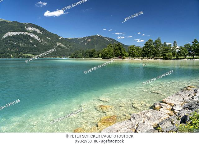 swimming area near Strobl at lake Wolfgangsee, Salzkammergut region, Austria