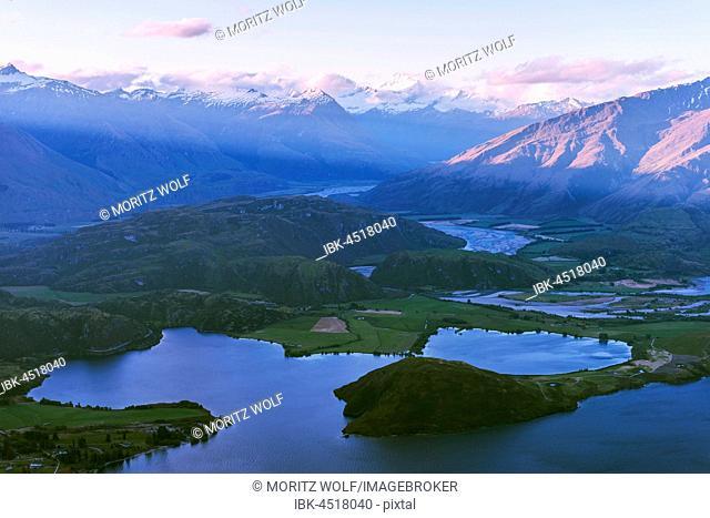 View of mountains and lake after sunset, Glendhu Bay, Lake Wanaka, Southern Alps, Otago Region, Southland, New Zealand