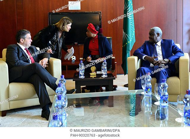 German foreign minister Sigmar Gabriel (SPD) meets Moussa Faki, the chairman of the African Union, in Addis Ababa, Ethiopia, 2 May 2017