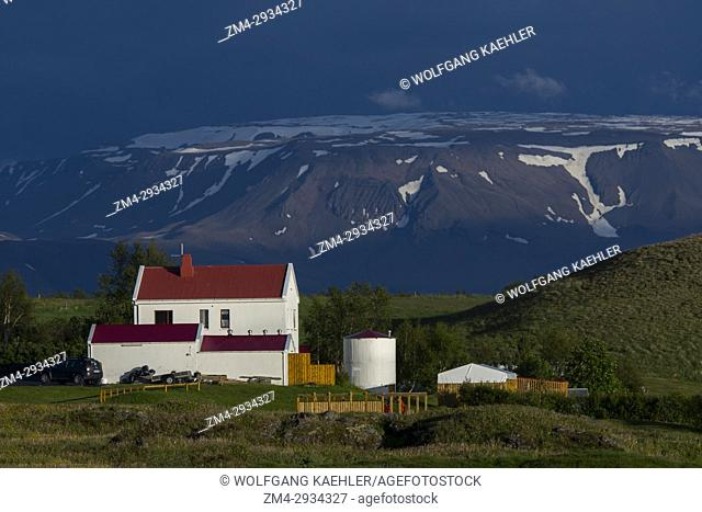 A farm house in evening light at Reykjahlid at Lake Myvatn in Northeast Iceland