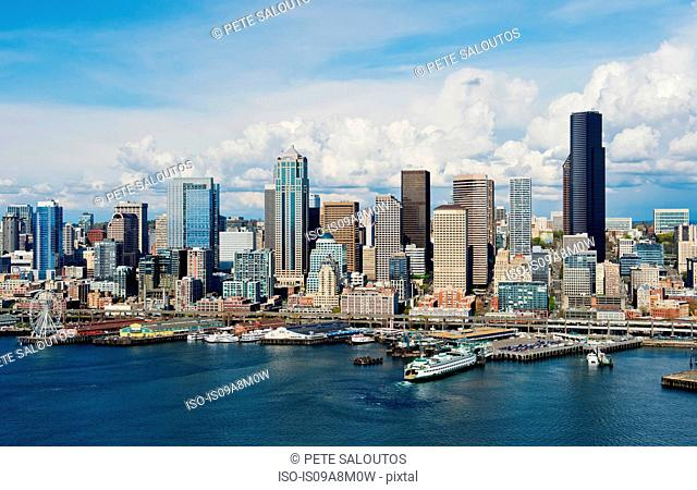 Aerial view of Seattle waterfront, Washington State, USA