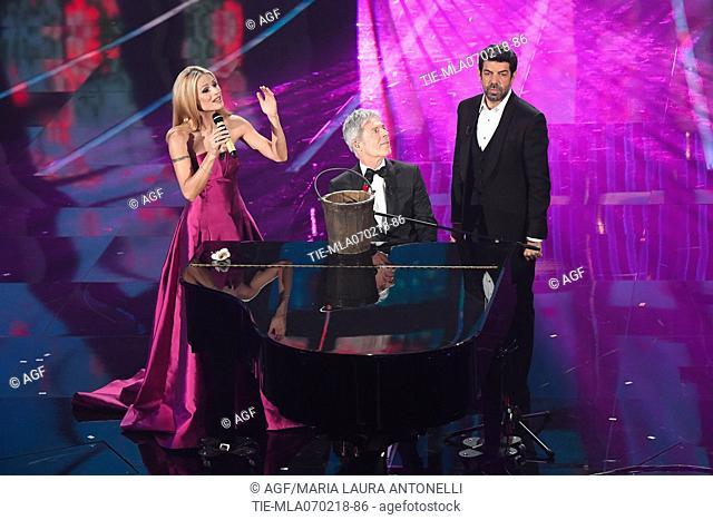 Claudio Baglioni, Michelle Hunziker, Pierfrancesco Favino during Sanremo Italian Music Festival, Sanremo, Italy 07/02/2018