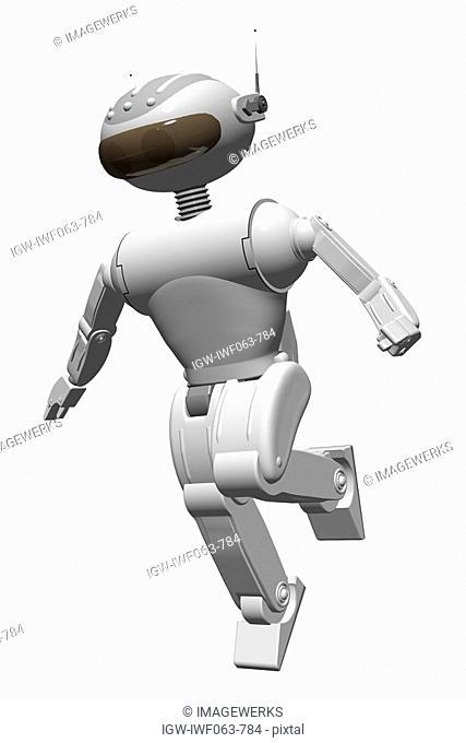 Robot running against white background