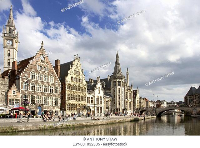 Ghent Graslei on the waterfront in Belgium