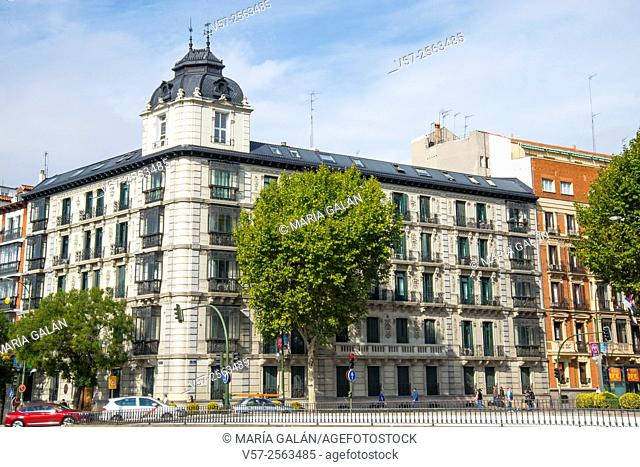 Facade of building. Velazquez street corner to Alcala street, Madrid, Spain