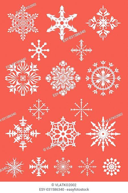Signature collection, Snowflake Set, Essentials collection, Simple Flat Snowflakes Icon Set