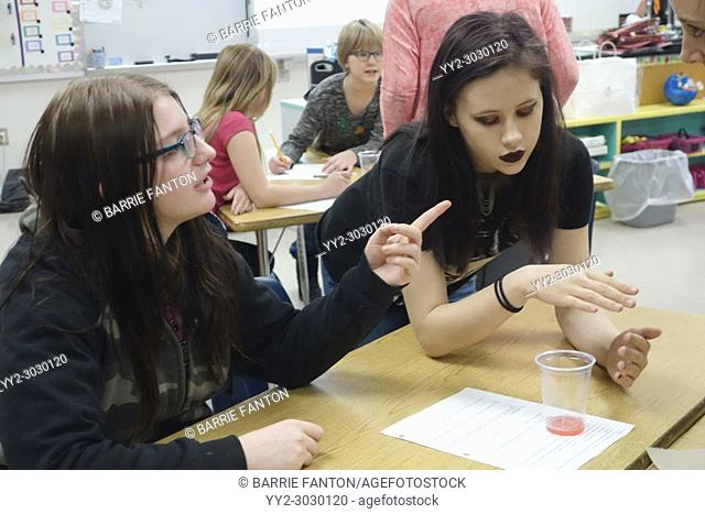 Special Education Students Doing Experiment in 7th Grade Science Class, Wellsville, New York, USA