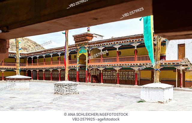 Central atrium at Hemis gompa. Indus valley, Ladakh (india)