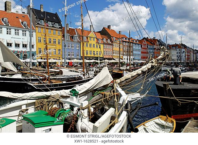Historic boats at Nyhavn, Copenhagen, Denmark, Scandinavia, Europe