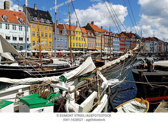 Historic boats at Nyhavn, Copenhagen, Denmark, Scandinavia, Europe