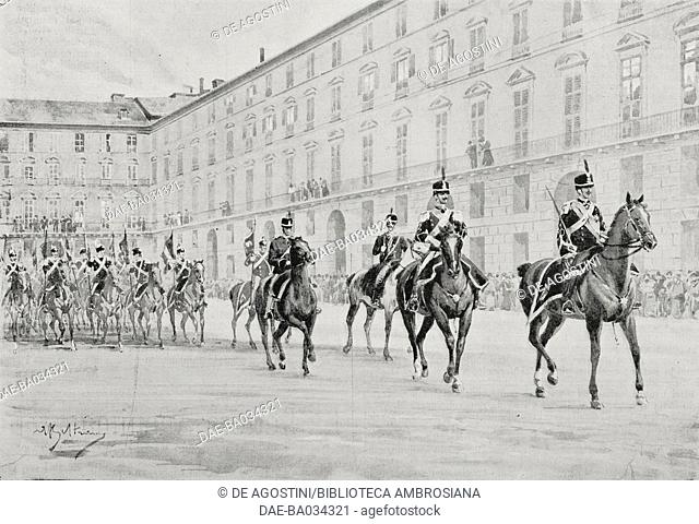 Platoon commanded by Prince Vittorio Emanuele, Count of Turin, bringing out the old Royal chivalry regiment flags of the Royal Armory, Turin, Italy