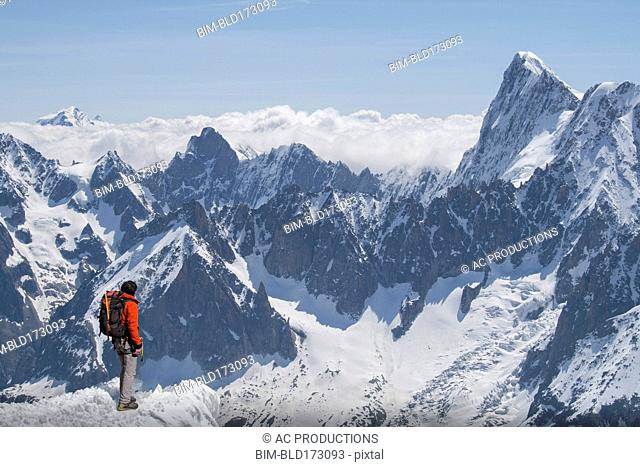 Caucasian skier on mountaintop, Mont Blanc, Chamonix, France