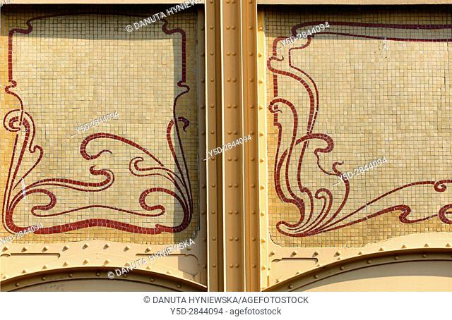 architectural detail - Town house designed in 1895 by Victor Horta for Edmond van Eetvelde, together with Hotel Tassel, Hotel Solvay and the own House and...