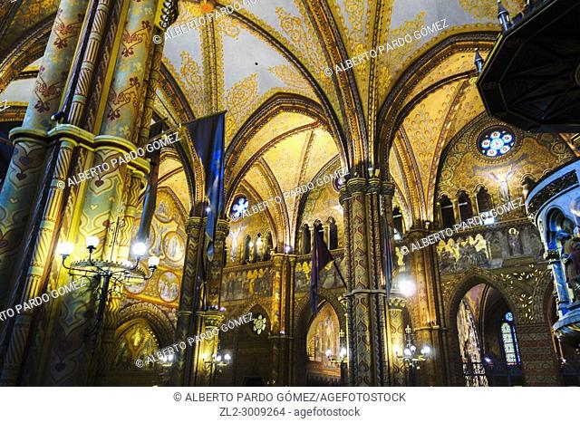 Interior of Matthias Church, Budapest, Hungary