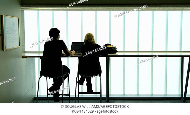 Two students study at the Langara College library building, Vancouver, BC, Canada