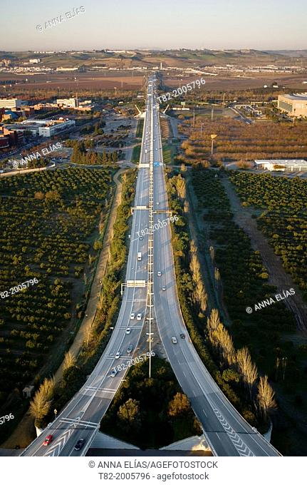 Aerial view of several roads from the Alamillo Bridge in Seville, Andalucia, Spain, Europe