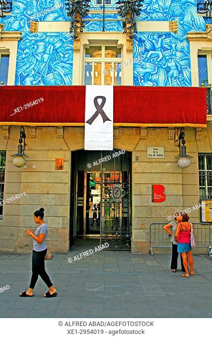 decoration on the facade of the town hall of the Gracia district, Festes de Gràcia 2017, Barcelona, Catalonia, Spain