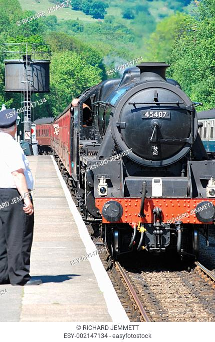 Steam train pulling into Grosmont station Yorkshire
