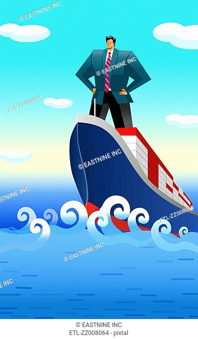 Businessman standing on a ship