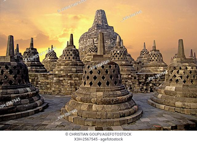 stupas of Borobodur Temple, Java island, Greater Sunda Islands, Republic of Indonesia, Southeast Asia and Oceania