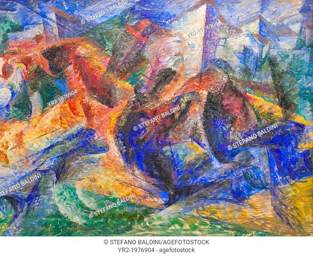 Horse+rider+houses, 1913-1914, Umberto Boccioni, 1882-1916, oil on canvas, national gallery of modern art, Rome, Italy