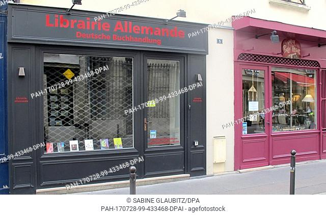 The closed 'Libraire Allemande' can be seen in the 5, rue Frédéric Sauton in Paris, France, 27 July 2017. The shop was more than only a German bookshop in the...