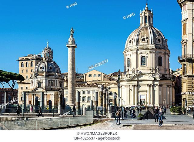 Trajan's Forum with Trajan's Column, church of Santa Maria di Loreto on the left, twin church of Santissimo Nome di Maria al Foro Traiano, Rione I Monti, Rome